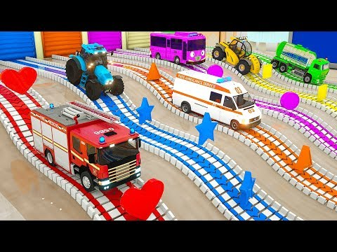 Learn Shapes with Fire Truck Assembly Rectangle Tyres, Magic Parking Vehicle Cartoon for Kids