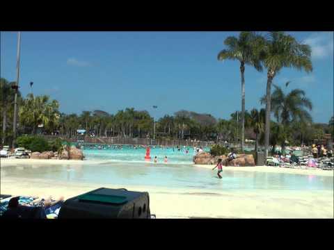 Surf Pool and Sandy White Beach, Typhoon Lagoon, Walt Disney World, (HD 1080p)