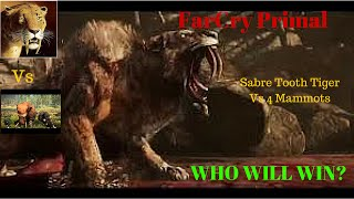 Far Cry Primal Sabre Tooth Tiger Vs 4 Mammoths