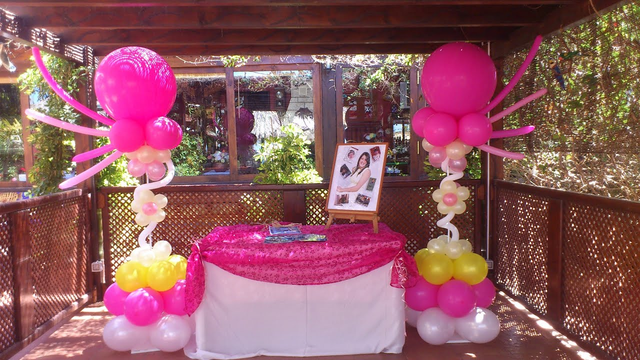 Decoraci n fiesta de 15 a os youtube for Arreglos de salon para quince anos
