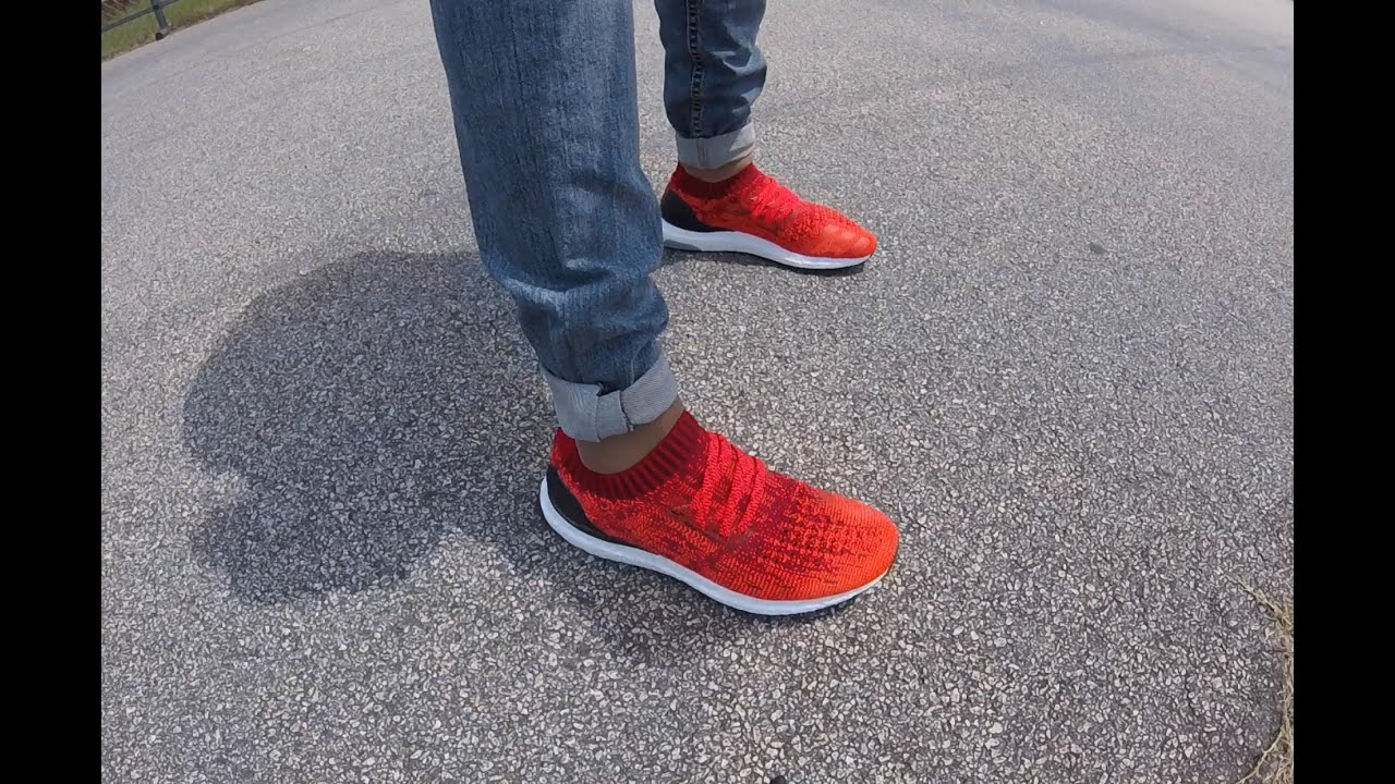 Adidas Ultra Boost Uncaged Red On Feet