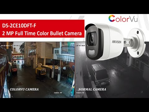 DS-2CE10DFT-F Hikvision colorvu full time color camera night vision footage vs normal camera