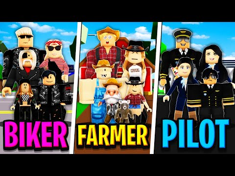 BIKER FAMILY vs FARMER FAMILY vs PILOT FAMILY in Roblox BROOKHAVEN RP!!