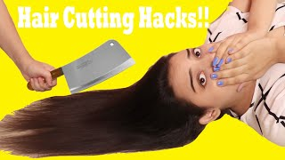 I Tested Viral Hair Cutting Hacks to see if they work! | *OMG* | Mishra Twins