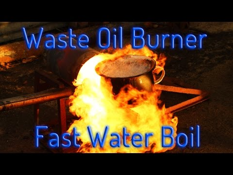 Build a horizontal waste Oil Burner home heating, can melting - YouTube