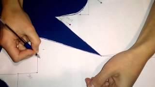 Нагрудная вытачка в выкройке по методу Любакс. The chest tuck on the pattern