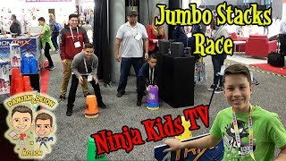 TOY DEMO with NINJA KIDS TV | GOLIATH GAMES | TOY FAIR 2019 DAY 3 | D&D SQUAD