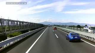 名神高速木曽川橋slide東海道新幹線上り続けて下り並走(音声なし)