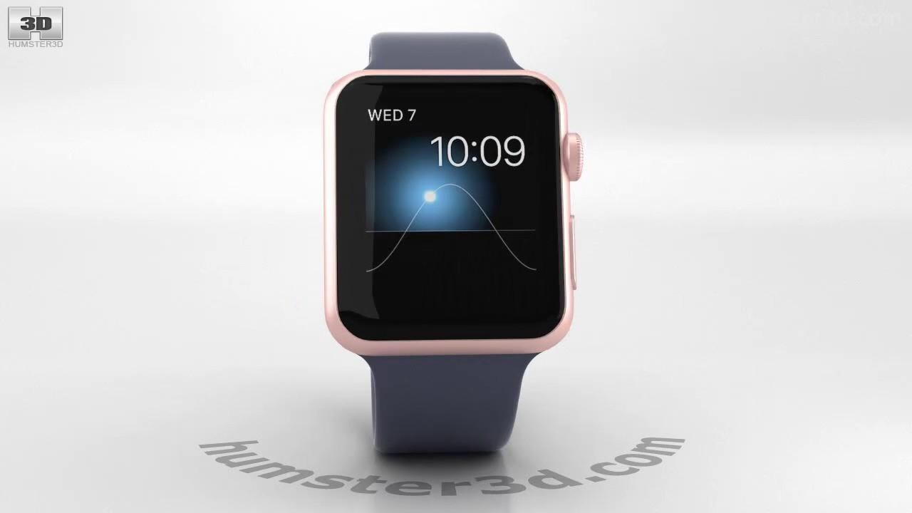d996b50208f0ff Apple Watch Series 2 42mm Rose Gold Aluminum Case Midnight Blue Sport Band  3D model by Hum3D.com