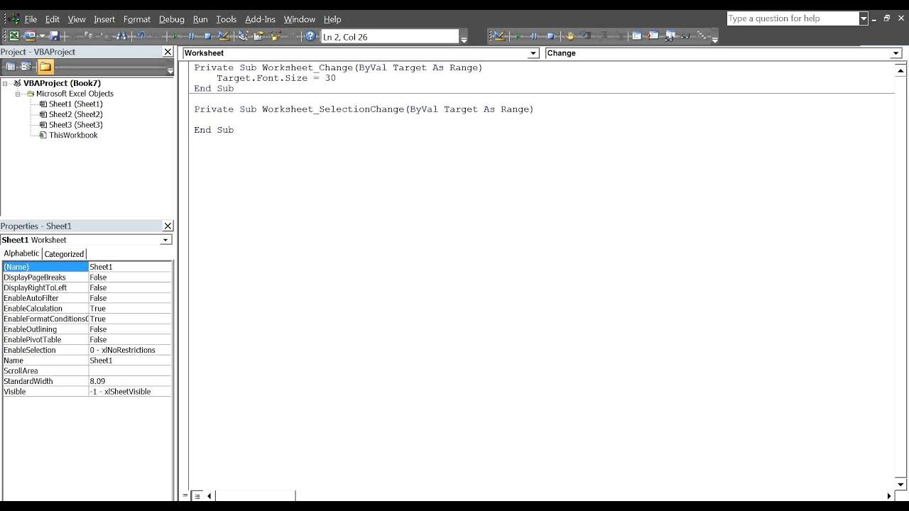 VBA Event Handling - YouTube