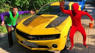 Mr. Joe washed Chevrolet Camaro in CAR WASH VS Red Man SOILED Car Mud for Children