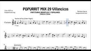 29 Popurrí Mix Villancicos Partituras de Clarinete Noche de Paz Gatatumba Los Peces en el Río