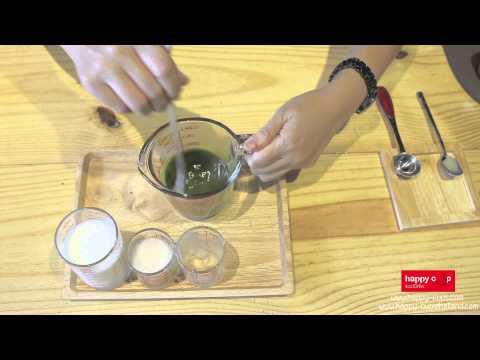 happycupsthailand ชาเขียวผสมกาแฟลาเต้ ICED GREEN TEA COFFEE LATTE