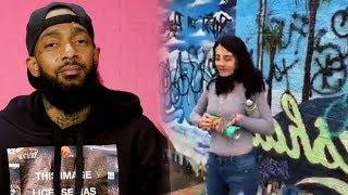 Woman Destroys Nipsey Hussle's Mural