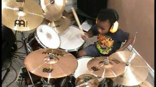 Trooper - Raise a Little Hell, Drum Cover, 4 Year Old Drummer