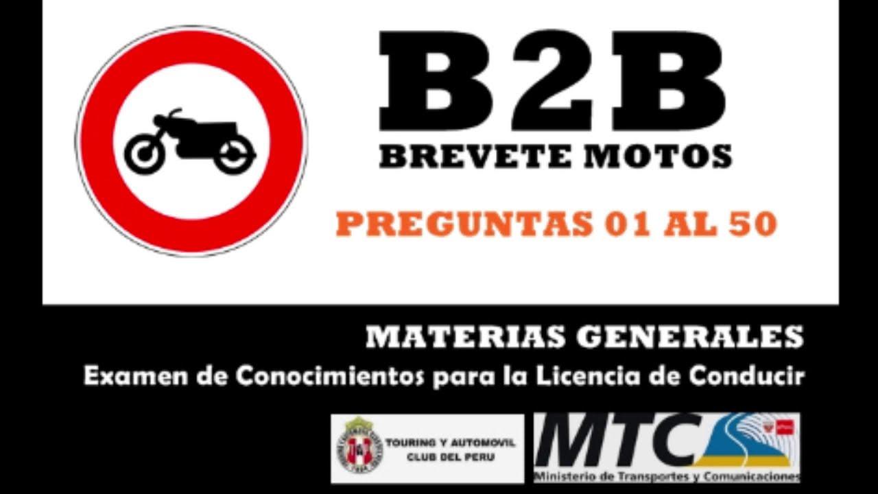 Preguntas B2b Motos 1 4 Examen De Conocimientos Licencia Conducir Biib Touring Mtc Peru Audio Youtube