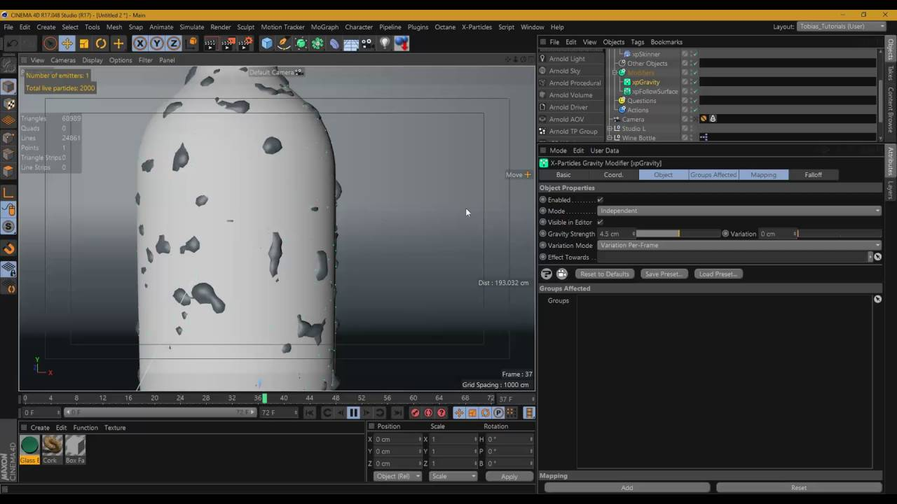 Creating Animated Water Droplets On A Bottle In Cinema 4D, X-Particles, and  Arnold Render
