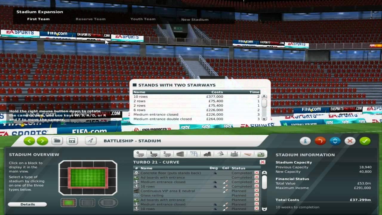 FIFA Manager 12 Stadium Editor - YouTube
