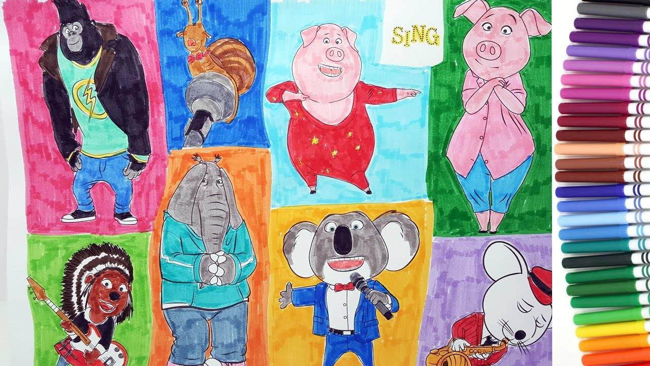 Illumination Sing coloring pages color Buster, Johnny, Gunter, Ash 3 ...