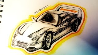 How to draw a ferrari F50