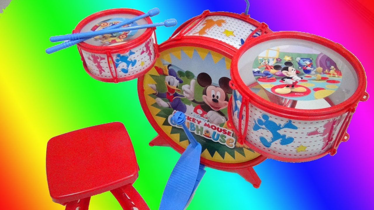 Mickey Mouse Club House Jazz Drum Set Disney Jr Video Toy Review