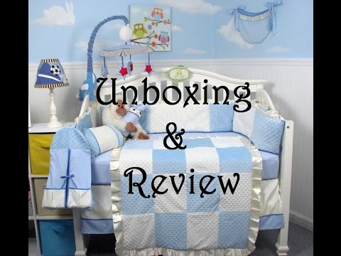 Soho Designs Blue Minky Crib Set Review & Unboxing