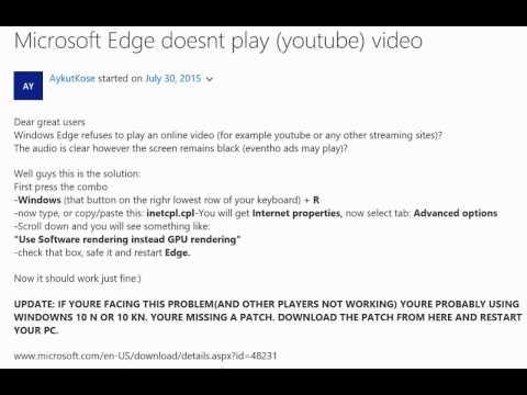 BLACK SCREEN ON YOUTUBE MICROSOFT EDGE SOLVED - YouTube