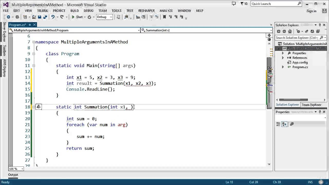 How to pass Multiple Arguments in a Method in C#