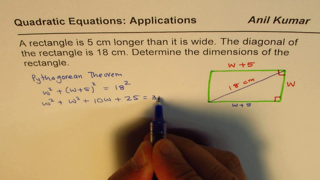 Rectangle Length Is 5 More Than Width Find Dimensions If Diagonal Is 18