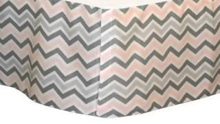 New Chevron Zig Zag Pink And Gray 5 Piece Baby Crib Bedding Set With Bumpe Product Images