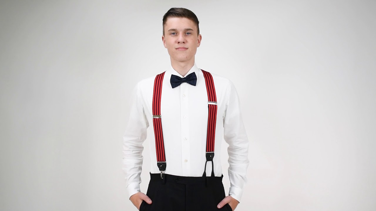Dressy Barrathea Convertible Clip/Button Suspenders in Equal Stripe Red/Navy Pattern