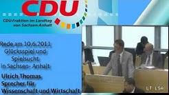 Rede im Landtag zum Thema Glücksspiel und Spielsucht in Sach