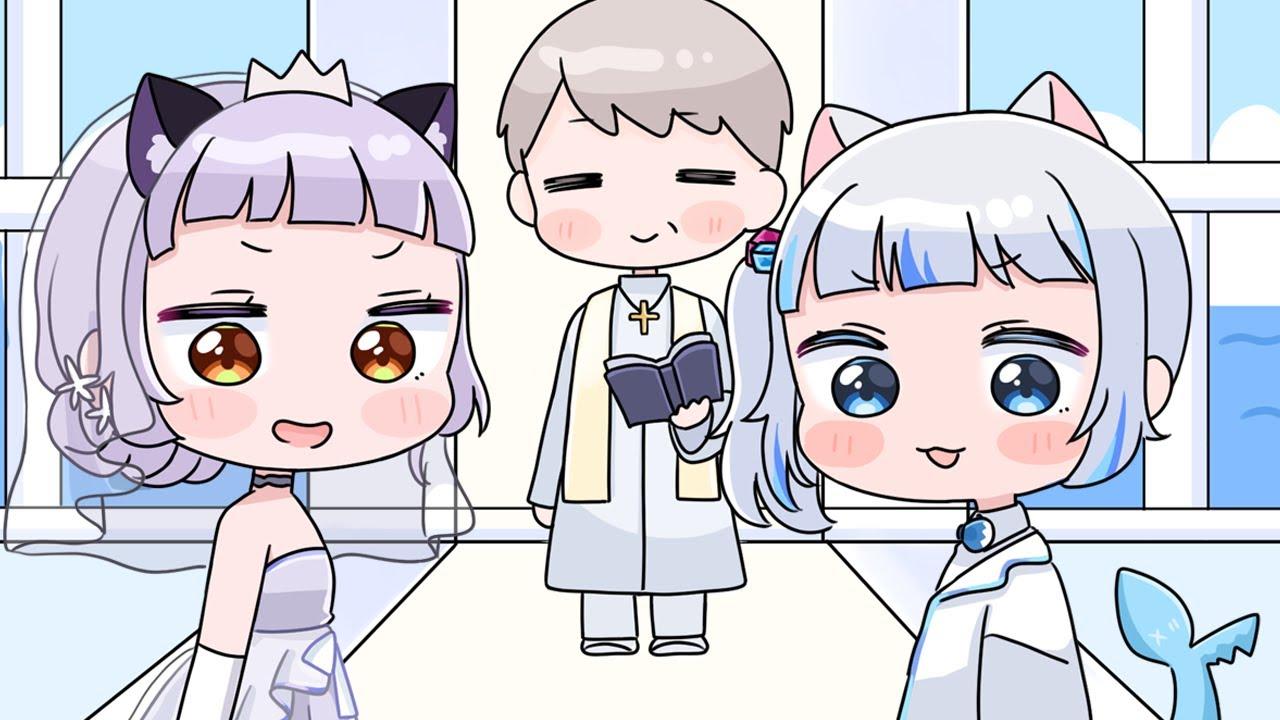 Shion gets married with Gura[Animated Hololive/Eng sub][Murasaki Shion/Gawr Gura]