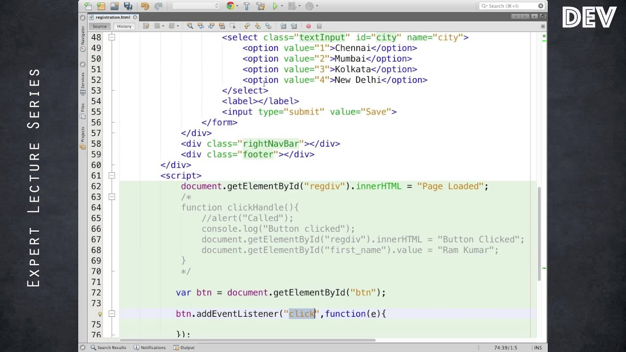 HTML Form / JavaScript Event Handling - YouTube