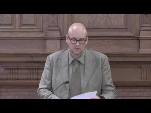 Matthias Göritz speaks at the the 2016 William H. Gass Symposium