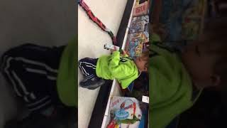 Henry Playing With Trains at Target