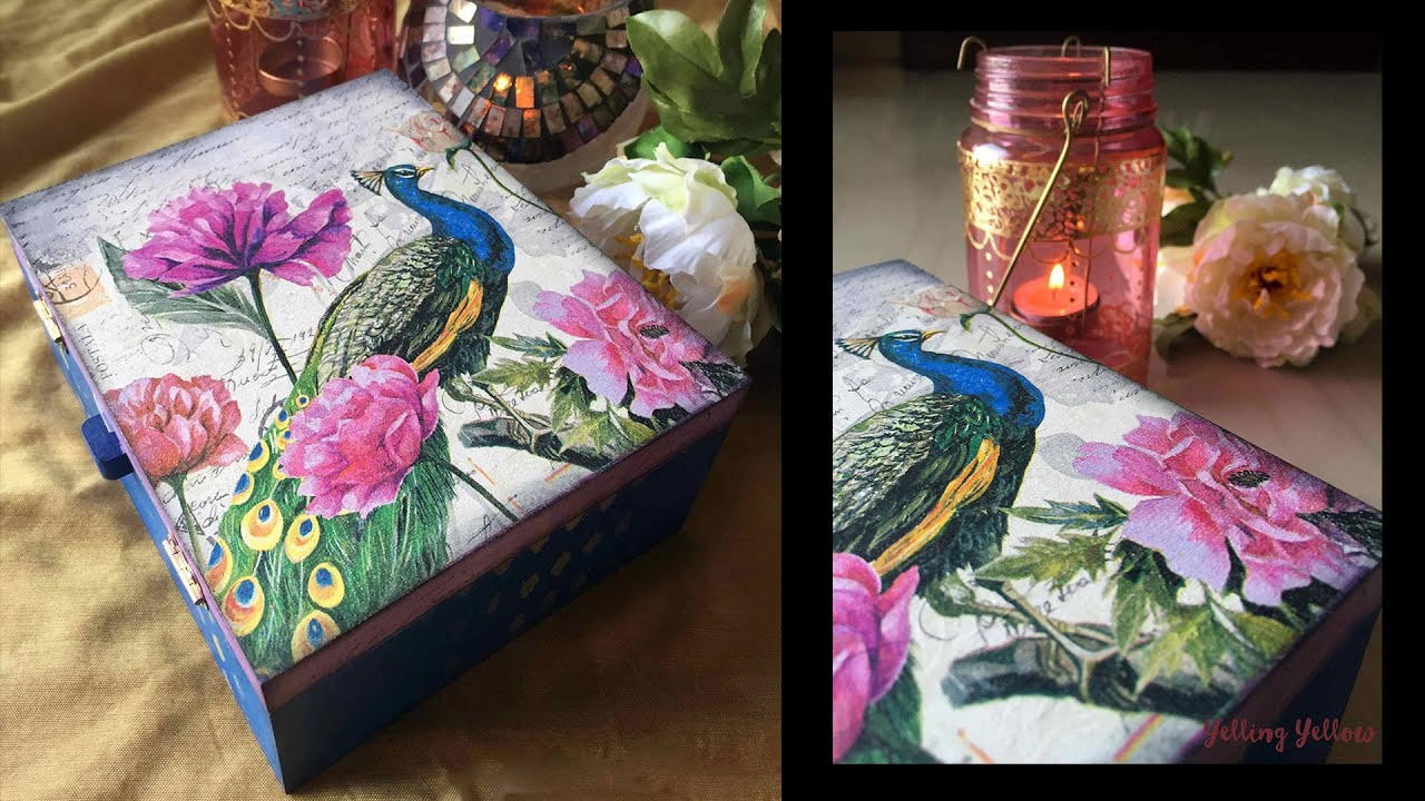 Napkin Decoupage On Mdf Jewellery Box Youtube