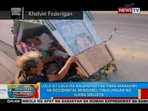 BP: Lolo at lola na nagpapadyak para makauwi sa Occidental Mindoro, tinulungan ng ilang siklista