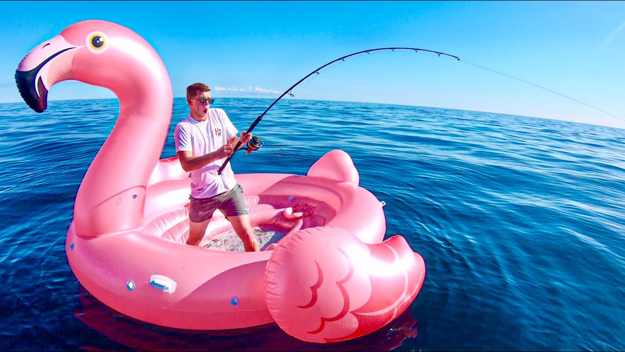 GIANT FLAMINGO INFLATABLE Deep Sea Fishing And We Caught _____?