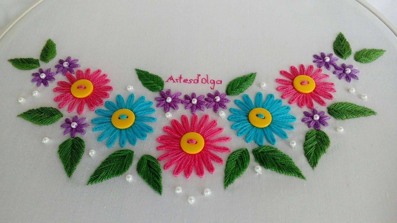 Hand Embroidery Lazy Daisy Stitch Neckline Bordado A Mano Para