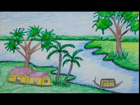 How to draw scenery for beginners. Draw for kids & color ...