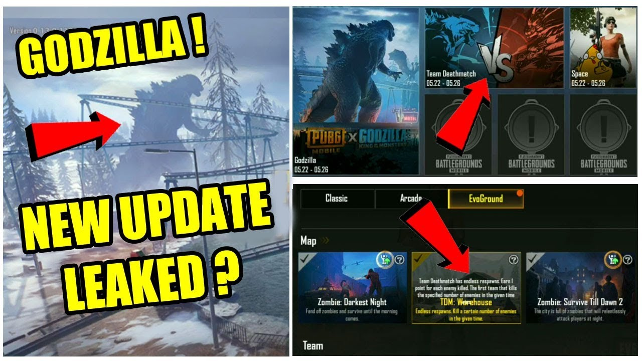 PUBG MOBILE GODZILLA NEW UPDATE LEAKED ! NEW GODZILLA MODE , NEW