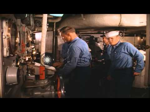 Engine room of United States Navy destroyer escort Charles E. Brannon in Seattle,...HD Stock Footage