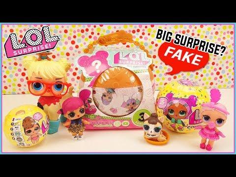 LOL Surprise Big Surprise fake falsa confetti pop lil siter LOL Fake Vs Real
