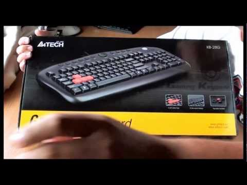 Unboxing the A4Tech KB-28G USB black keyboard