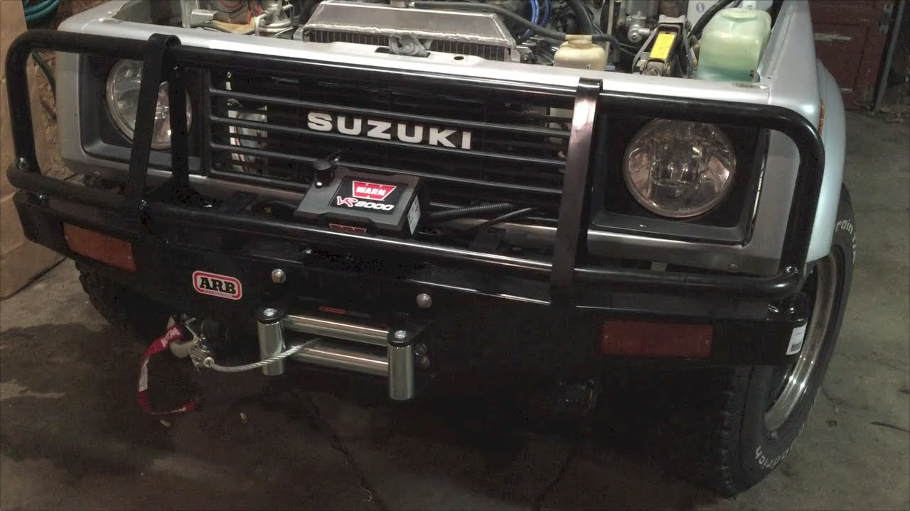 suzuki samurai arb bumper and warn winch [ 1280 x 720 Pixel ]