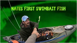Bass Fishing With Sprinker Frog, Rat and Drop Shot -  Nate's First Swimbait Fish