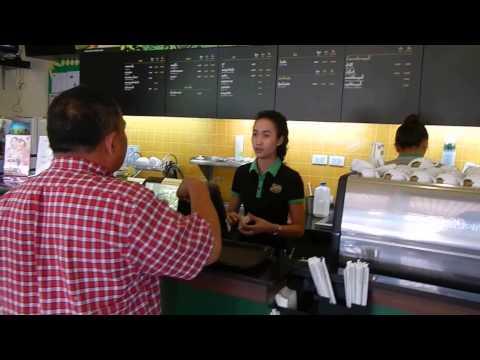 ชิมกาแฟอเมซอนที่ปตท.เวียงจัน coffee in gas station vientiane