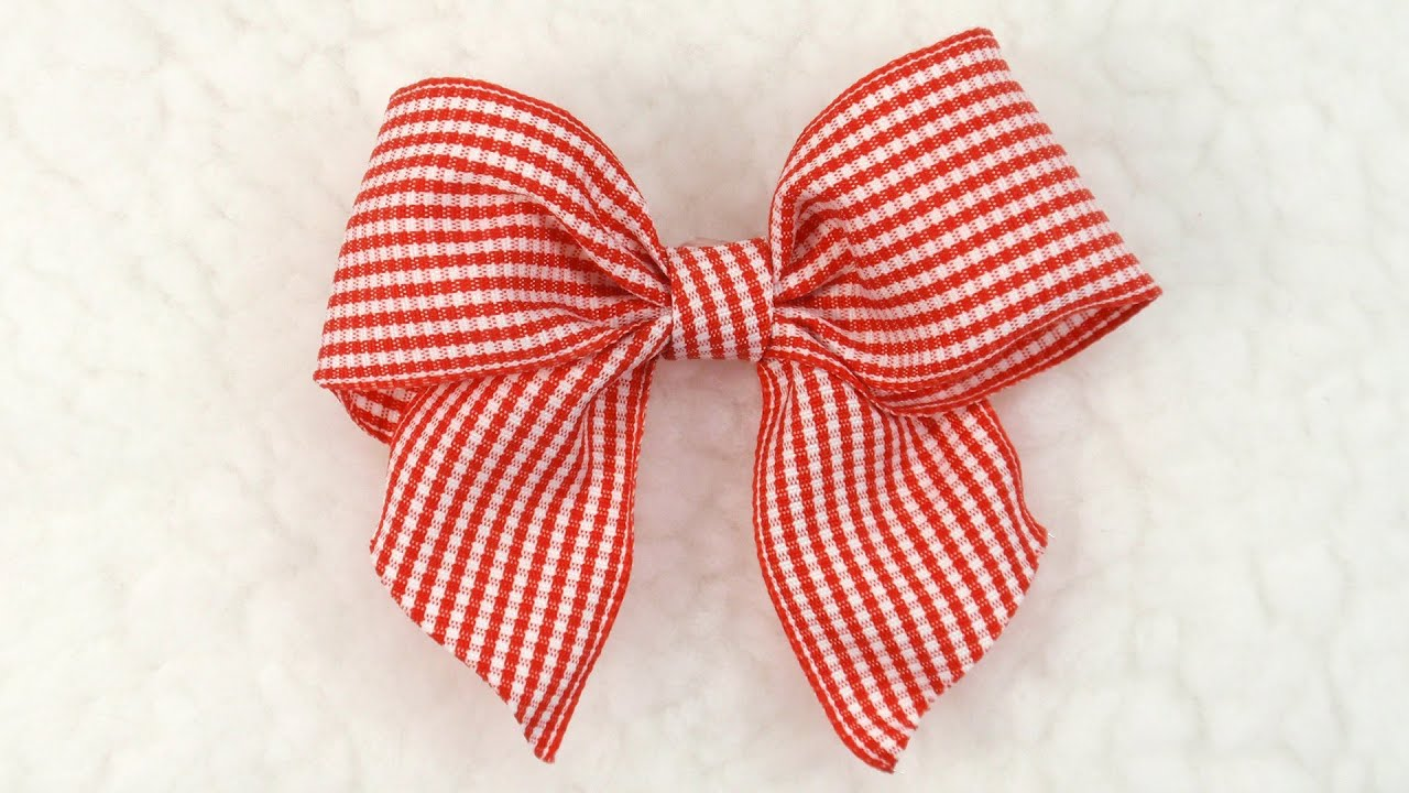 DIY Gingham Bow, Tutorial, DIY, Ribbon Bow #6 - YouTube
