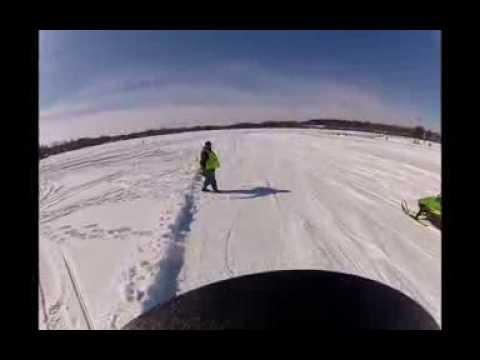 Arctic Cat ZR 440 Sno Pro in Pro 500 Final Manawa Snodeo Snowmobile Lakecross Race 2-15-14